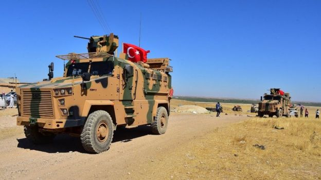 Turkish armoured vehicles on patrol in northern Syria on 8 September 2019