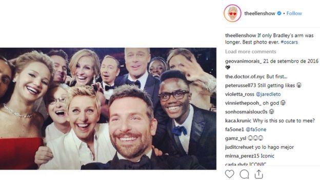 Selfie en el programa de TV Ellen durante los Oscar