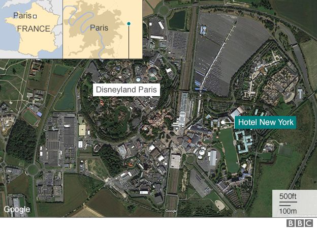 Disneyland Paris Man arrested carrying two guns BBC News – Map of Paris with Hotels