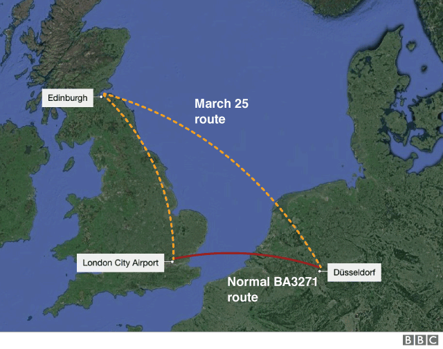 BA flight route map