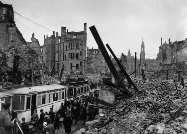 Bomb damaged Dresden, pictured in March 1946