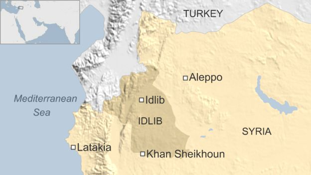 Map of Syria showing location of Khan Sheikhoun