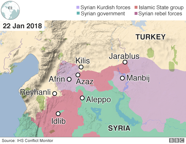 Map showing control of north-western Syria around Afrin (22 January 2018)