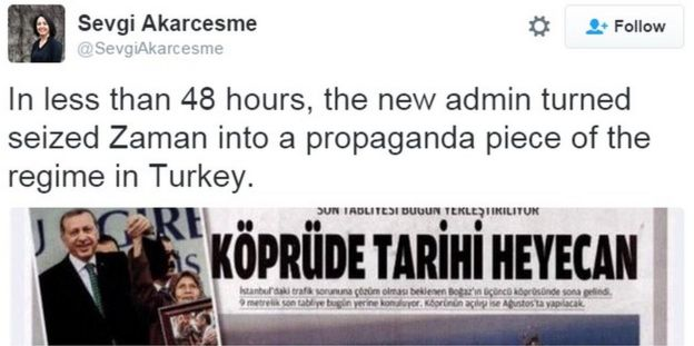 Tweet by former Zaman journalist Sevgi Akarcesme attacking her old paper's owners - 6 March 2016