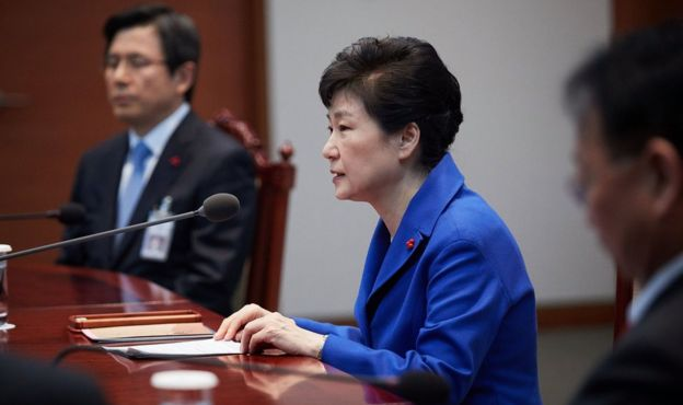 South Korea's President Park Geun-hye pictured at the presidential office on December 9, 2016 in Seoul, South Korea.