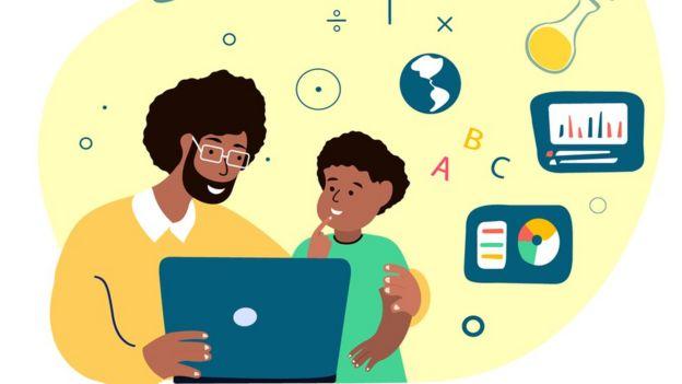 Ilustração mostra homem e criança olhando para computador, rodeados por desenhos remetendo ao conhecimento, como de um planeta, letras, tubo de ensaio