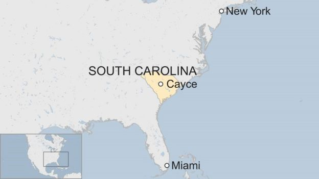 Map showing Cayce