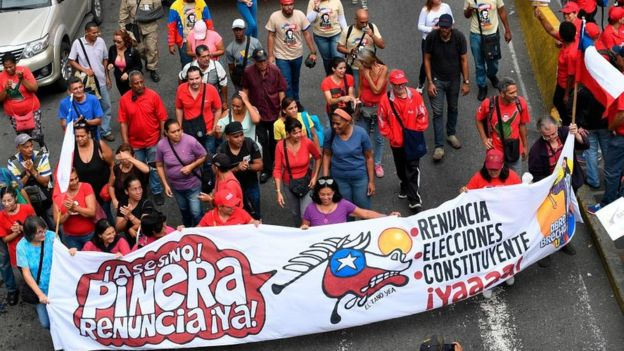 Manifestación de apoyo a Chile en Venezuela