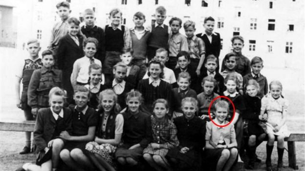 Vaira and classmates in Lübeck, 1949