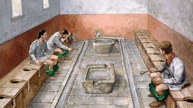 Ilustración de un baño romano