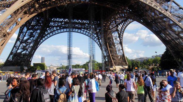 Personas caminando en la base de la Torre Eiffel