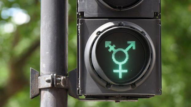 Símbolo transgénero en un semáforo
