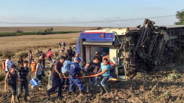Крушение поезда в Турции