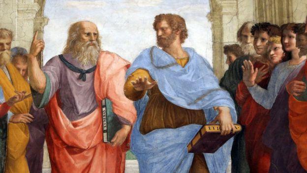 Platón y Aristóteles en La Escuela de Atenas.
