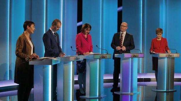 Đại diện các đảng phái lớn của Anh trong buổi tranh luận trên truyền hình trước cuộc tổng tuyển cử