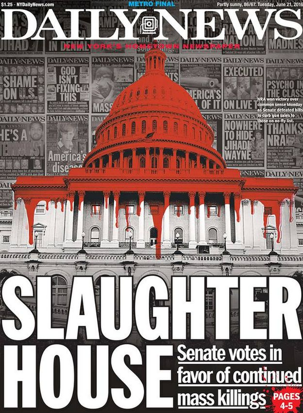 "Headline reads: ""Slaughterhouse; Senate votes in favor of continued mass killings"""