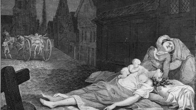 Cuadro de Edad Media que muestra incidencia de la peste
