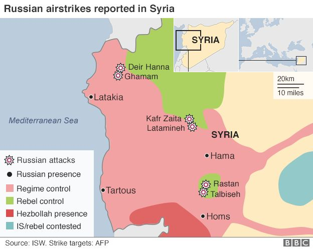 Map showing location of first day of airstrikes in Syria by Russian forces