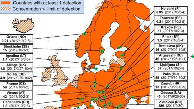 Mapa de los sitios donde se detectó material radioactivo