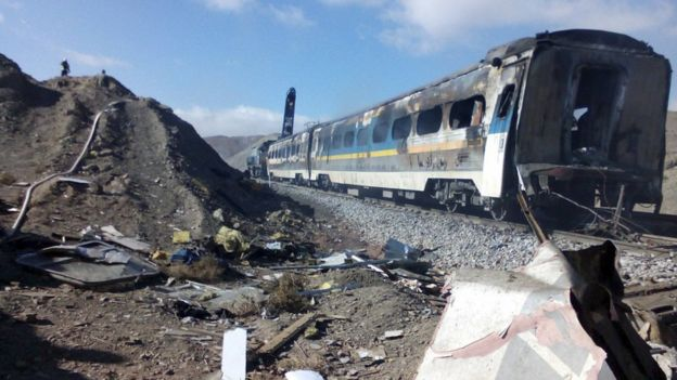 The scene of a train crash about 150 miles (250km) east of the Iranian capital Tehran, 25 November 2016.
