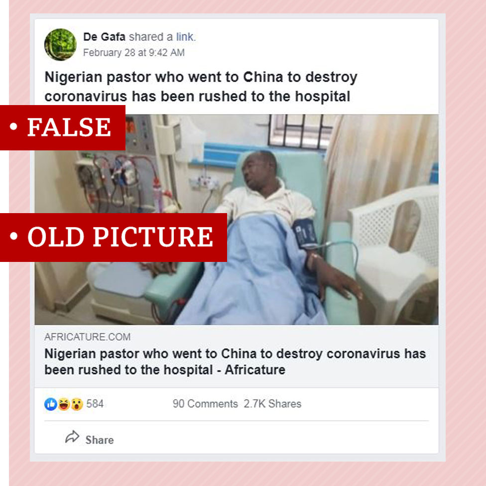 Screenshot of false story about a Nigerian pastor who said he would go to China to cure coronavirus. The article includes an old photo of dead Nigerian actor