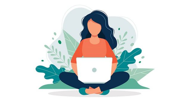 An illustration to person looking on their laptop