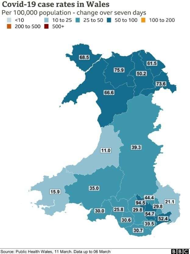 A map of Covid case rates across Wales, over a seven day period between 28 February and 6 March 2021