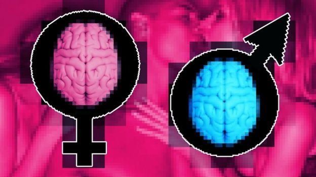 image composition - male and female symbols, pixelated pink and blue brains, purple and bright pink background