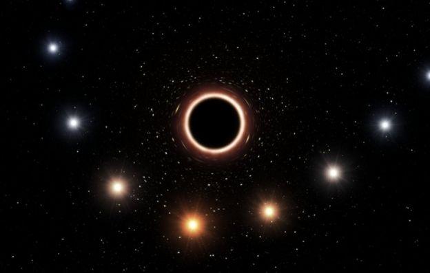 برداشتی هنری از سرخگرایی گرانشی ستاره اس٢ در اطراف ابرسیاهچاله کمان اِی در مرکز کهکشان راه شیری