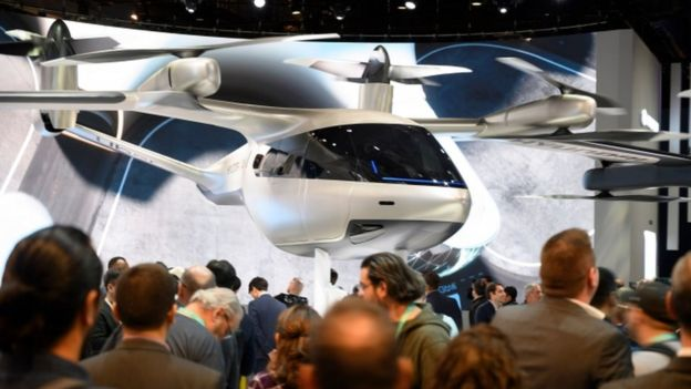 Another angle of the flying car designed by Hyundai