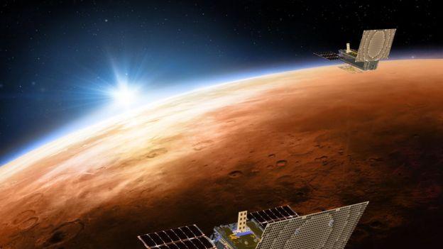 Ilustração da exploração espacial de Marte