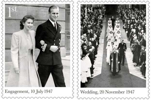 Royal Mail commemorative stamps for the Queen's 70th wedding anniversary