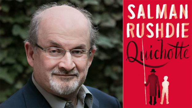 Salman Rushdie and the book jacket for Quichotte