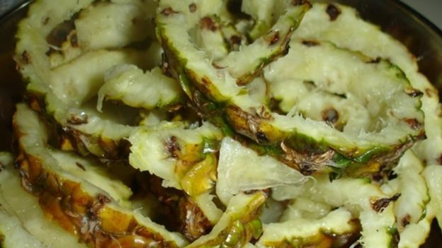 Resíduos de abacaxi usados na pesquisa