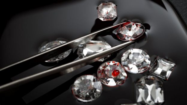Diamonds flecked with red