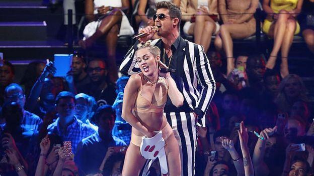 Miley Cyrus and Robin Thicke at the MTV VMA's 2013