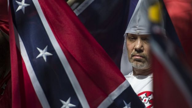 This file photo taken on July 08, 2017 shows a member of the Ku Klux Klan during a rally, calling for the protection of Southern Confederate monuments, in Charlottesville, Virginia