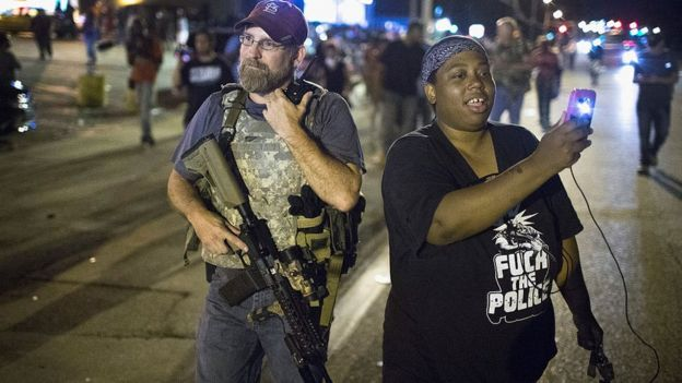 Woman during a demonstration for the first anniversary of the death of Michael Brown.