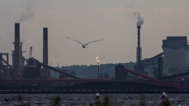 Birds fly over Hamilton Harbour near steel mills in Hamilton, Ontario