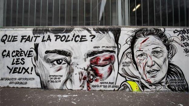 غرافيتي ينتقد الشرطة في فرنسا
