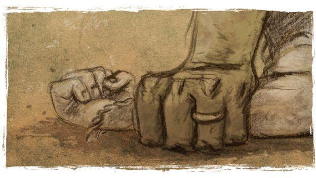 Ilustración de una mano fuerte sujetando la mano de una niña