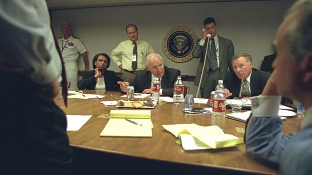 Libby (right) was at Mr Cheney's side in the aftermath of the 11 September attacks