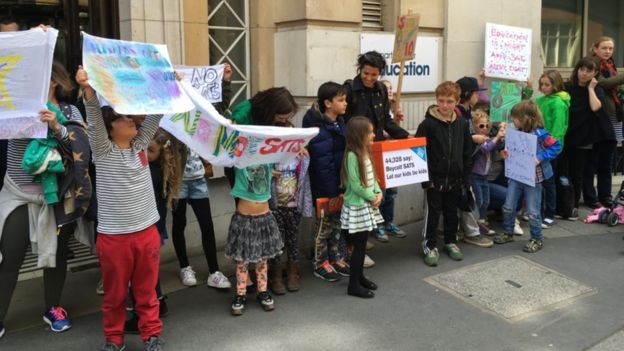 Protest last year at DfE - hand in petition