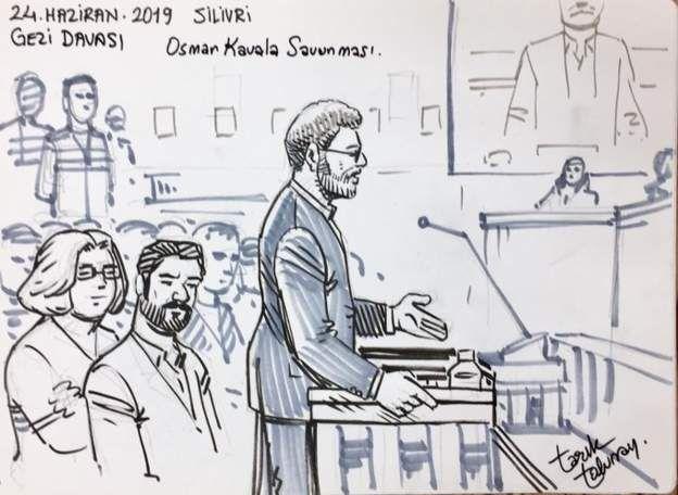 Twitter'da GeziSavunmasi hesabından duruşmadan çizimler paylaşıldı. (TARIK TOLUNAY / TWITTER @gezisavunmasi)