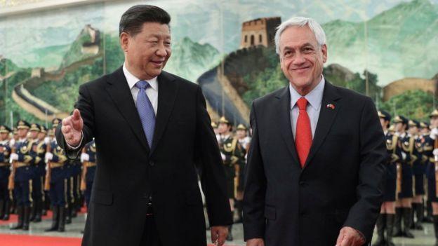 Xi Jinping y Sebastián Piñera.