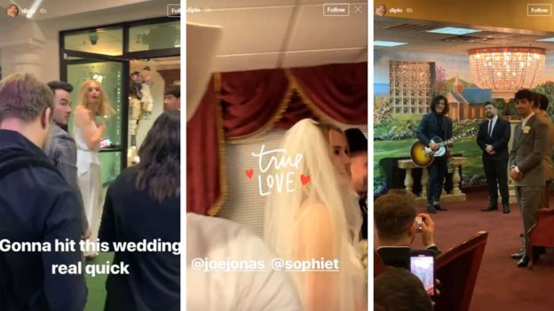 Collage from Joe Jonas and Sophie Turner's wedding