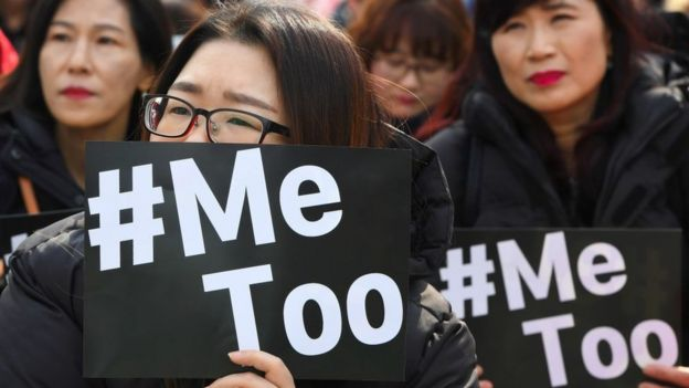 South Korean demonstrators hold banners during a rally to mark International Women's Day as part of the country's #MeToo movement in Seoul