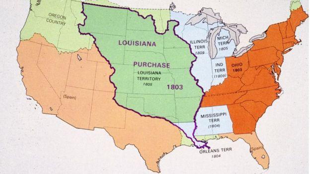 Mapa de la compra de Luisiana.