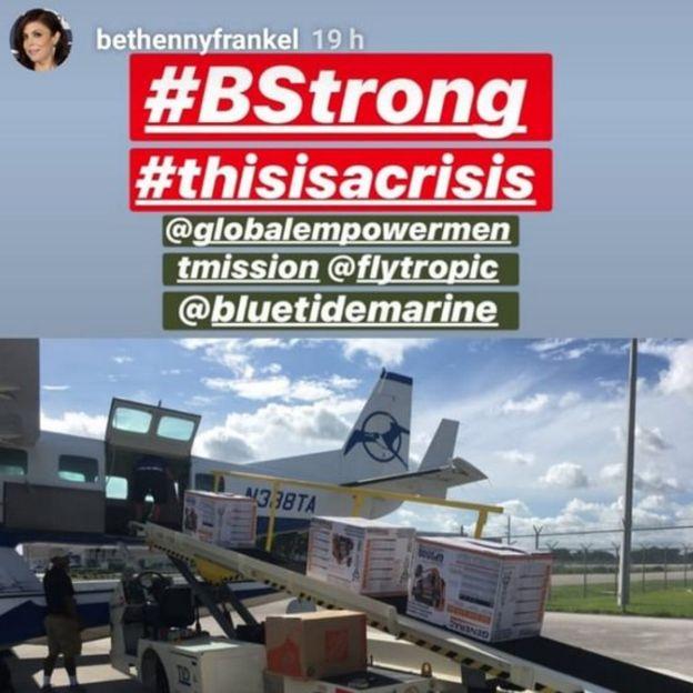 Bethenny Frankel instagram story post of flight loading supplies