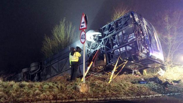 A coach crash in Oxfordshire